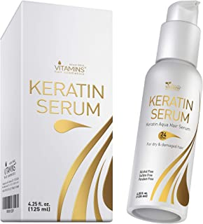 Vitamins Keratin Protein Hair Serum - Weightless Anti Frizz Treatment Softens and Repairs Frizzy Dry Damage...