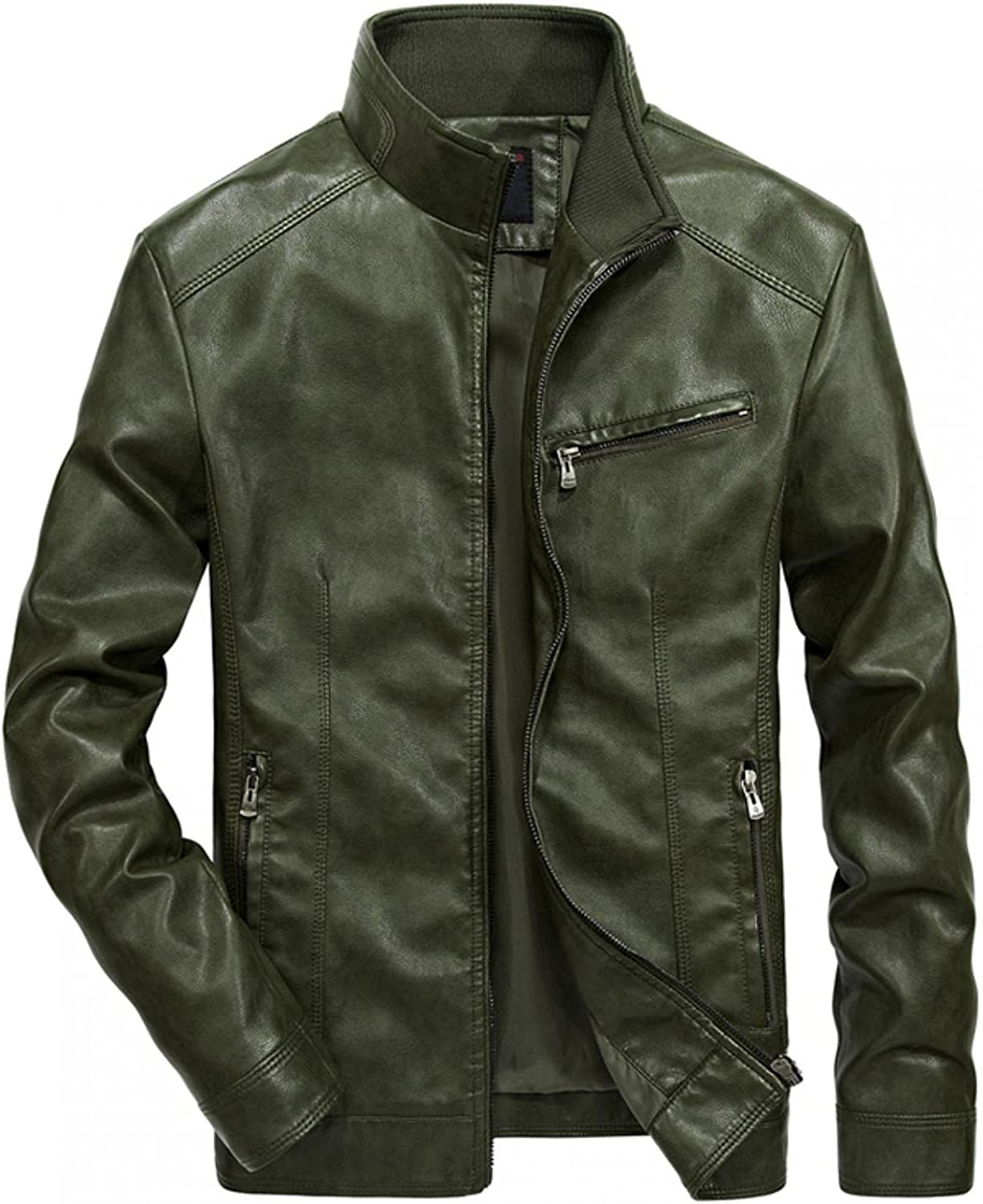 Hoodies for Men Men's Solid Color Motorcycle Jacket Long Slee Stand Collar Thick Zipper Leather Jacket Fashion Hoodies