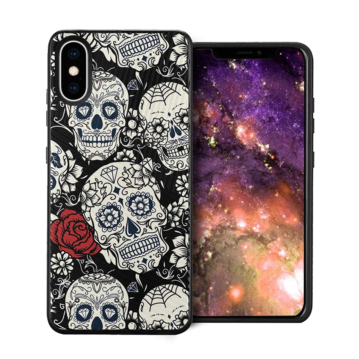 Capsule Case Compatible with iPhone Xs Max [Embossed Diagonal Lines Hybrid Dual Layer Slim Armor Black Case] for iPhone Xs Max - (Black White Sugar Skull)