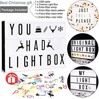 Doingart Mini LED Cinema Light Box Cinematic Light Box, Include 345 Changeable Letters with Emoji, Symbols and Numbers DIY Marquee Signs for Home,Wedding and Christmas Decor