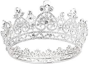 Makone Crowns for Women Sliver Crystal Queen Crowns and Tiaras Girls Hair Accessories for Wedding Prom Bridal Party Halloween Costume