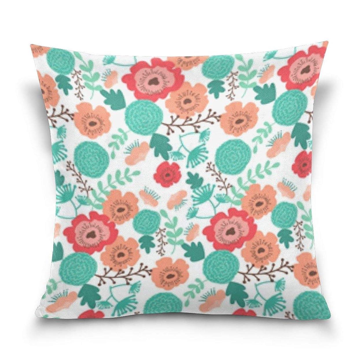 無し親愛な気取らないカラフルなサンゴ花柄スロー枕カバーポリエステルクッションケース用ホームソファ寝室車の椅子ハウスパーティー屋内屋外20x20インチ