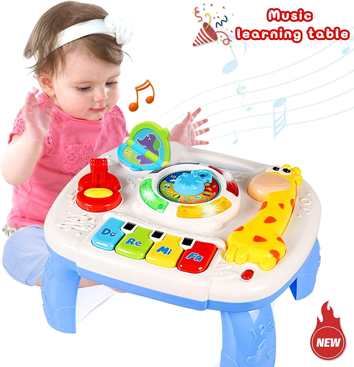 HOMOFY Baby Toys Musical Learning Table 6 Months up Early Education Activity Center Multiple Modes Game Kids Toddler Boys and Girls 123 Years Old New Gifts