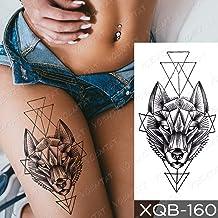 JXAA Etiqueta engomada del Tatuaje a Prueba de Agua Wolf Tree Rose Moon Tattoo Fox Clock Flower Body Art Manga del Brazo Mujeres Hombres 20-XQB160
