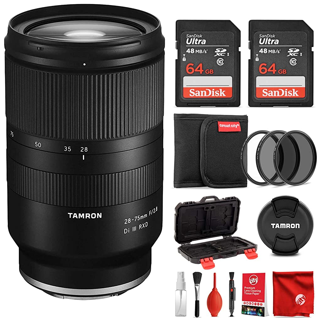 Tamron 28-75mm F/2.8 for Sony Mirrorless Full Frame E Mount Lens Bundle with 2X 64 GB Memory Cards Filter and Cleaning Kit