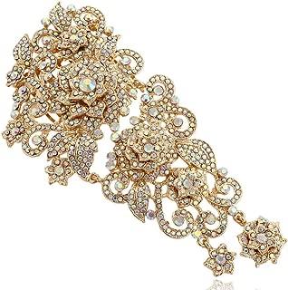 EVER FAITH Women's Wedding 5.9 Inch Flower Cluster Hair Comb Austrian Crystal