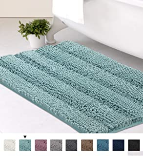 Ultra Soft Texture Chenille Plush Bath Rugs Floor Mats, Hand Tufted Striped Bath Rug Non Slip Microfiber Door Mat for Kitchen/Entryway/Living Room, 32 by 20 inches, Duck Egg Blue