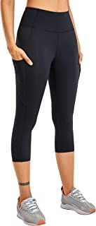 CRZ YOGA Women's Naked Feeling High Waist Gym Workout Capris Leggings with Pockets 19 Inches