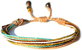RUMI SUMAQ Surfer String Bracelet w/Hematite Stones in Tan Metallic Gold Aqua Handmade Unisex Beach Waxed Cord Rope Friendship Jewelry
