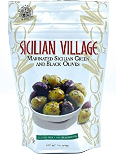 Sponsored Ad - Sicilian Village Marinated Green and Black Olives, 7 Ounce