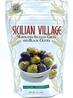 Sicilian Village Marinated Green and Black Olives, 7 Ounce