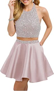 Womens Satin Short Prom Dress With Pockets Sweet 16 Party Dress