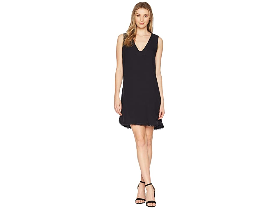 Splendid Crosshatch V-Neck Tunic Dress (Black) Women