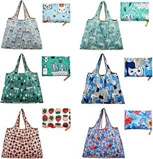 6 Pack Reusable Grocery Tote Shopping Bags Large 50lbs Foldable with Pouch Waterproof Machine Washable Animal Designs Eco Friendly Heavy Duty (Style 3)