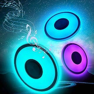 Plafones Led Techo 60W, RGB Lampara De Techo Led Con Altavoz Bluetooth, Regulable Lampara Techo Led Con App+Control Remoto , Lampara Cuarto Techo Proteger El Ojo,Ip40 Luz De Techo Musical para Casa