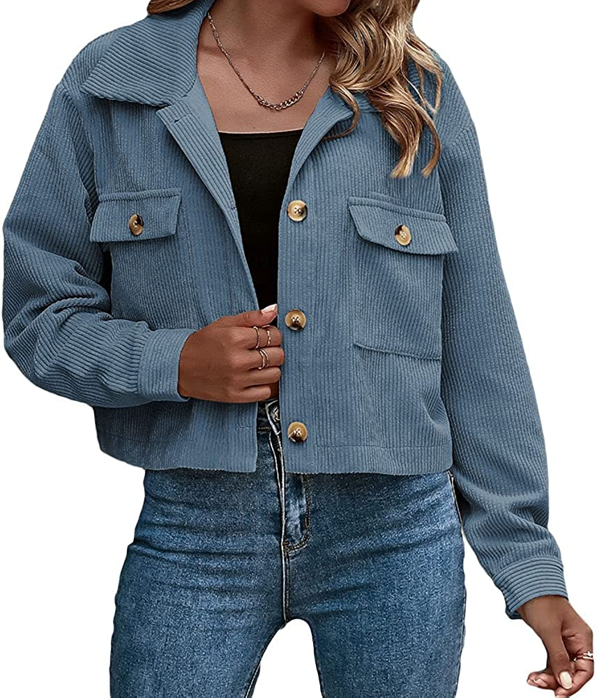 PLUSFORT Women's Casual Cropped Corduroy Jackets Button Down Long Sleeve Shirts Shacket Coat with Pockets