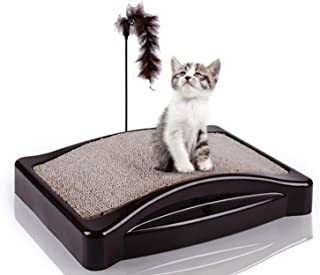 Elevens Cat Scratching Pad, Recyclable Cardboard Refill Lounge with Feather Teaser(21.3