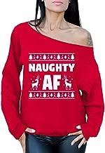 Awkward Styles Naughty AF Off Shoulder Sweatshirt Naughty Xmas Oversized Sweater