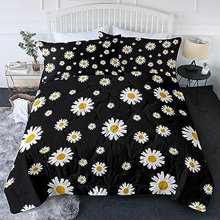 BlessLiving Daisy Comforter Set Trendy White & Yellow Spring Daisies Floral on Black Bedding Set 1 Flower Print Bed Comfor...