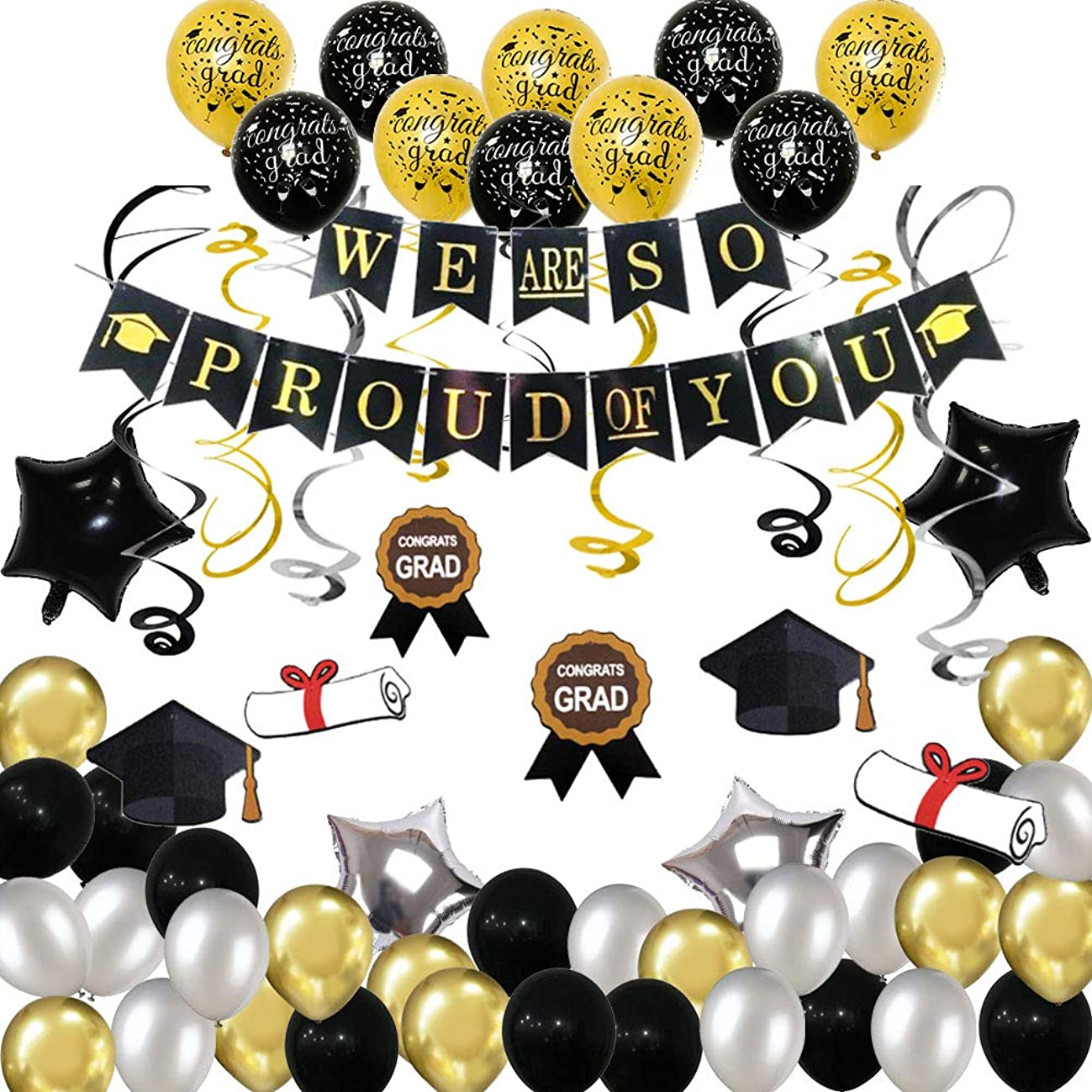 Graduation Party Supplies 2019,Graduation Decorations 2019,include 74Pcs Banners Hanging Swirls Pentagram Balloons Gold Silver Black Balloons Color Ribbon Balloon Straw for Girls Boys Photo Props