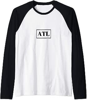 Atlanta Print Hip Hop Hometown Pride Vintage Raglan Baseball Tee