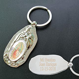 Personalized First Communion Keychain Favor (12 PCS) Engraved Our Lady of Guadalupe Baptism Metal