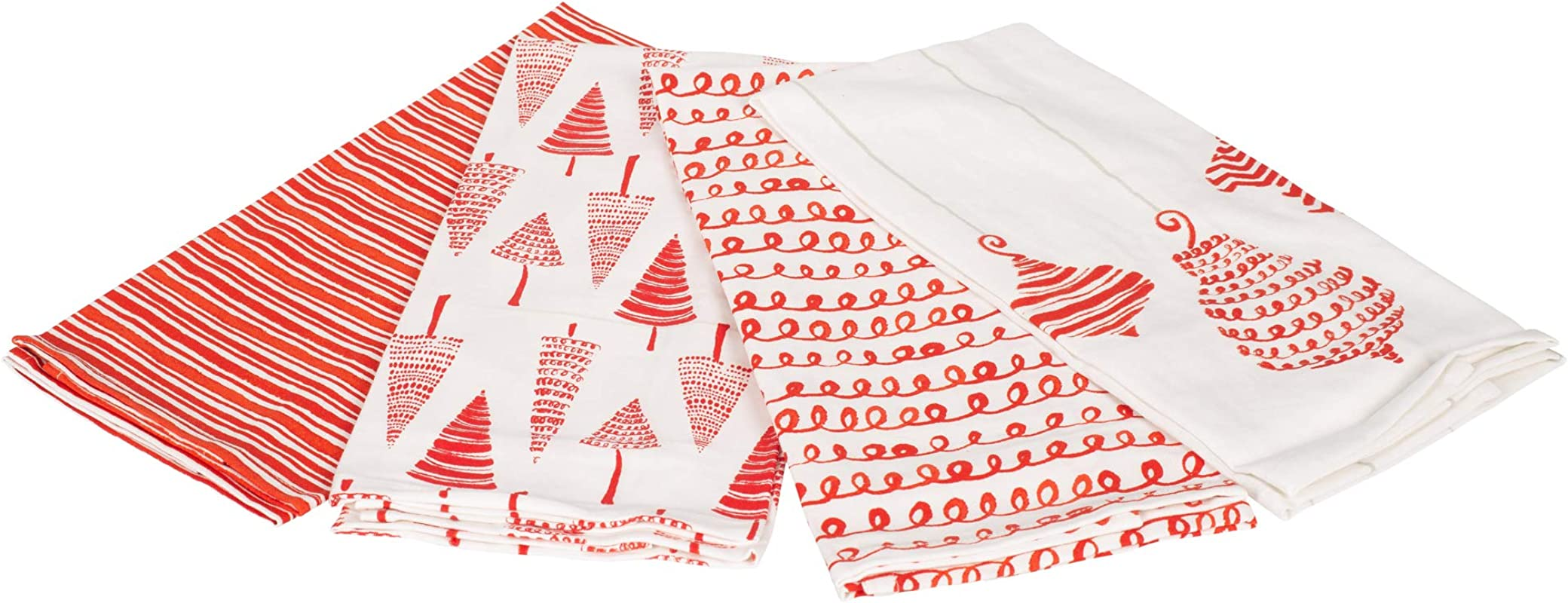 Ornament Tree Red And White 27 X 17 Cotton Christmas Tea Dish Towels Set Of 4