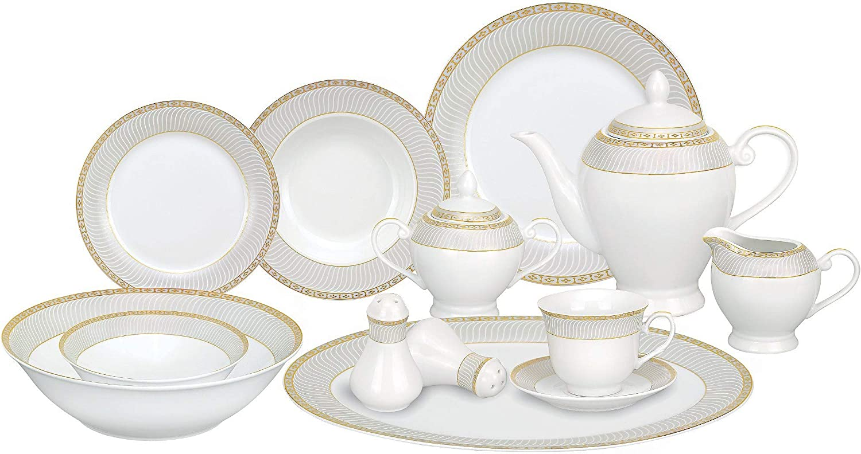 Luxury goods MISC Home 57-Piece Porcelain Gold F Set Stripe Oakland Mall Dinnerware Accent