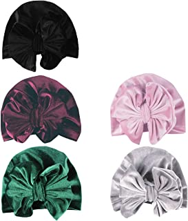 SuperiMan 5PCS Velvet Newborn's Bowknot Turban Headband Beanie Cap Infant Baby's Headwear for Photography Props