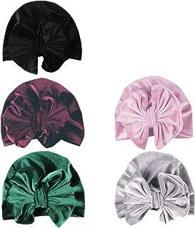 SuperiMan 5PCS Velvet Newborn's Bowknot Turban Headband Beanie Cap Infant Baby's Headwear for Photography Props