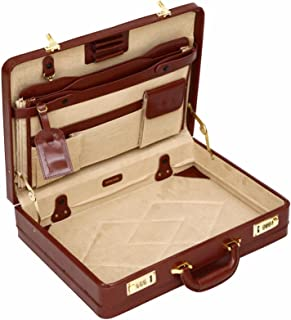 Luxury Leather Executive Case Attache Briefcase Expander Business Bag