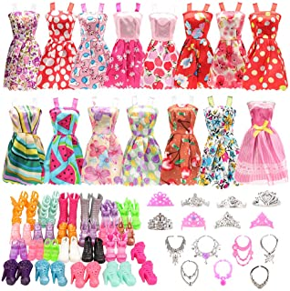BARWA 32 pcs Barbi Doll Clothes and Accessories 10 pcs Party Dresses 22 pcs Shoes, Crown, Necklace Accessories for 11.5 in...