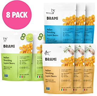 BRAMI Lupini Beans Snack, Variety Pack | 9g Plant Protein, 0g Net Carbs | 2.3 oz (8 Pack)..