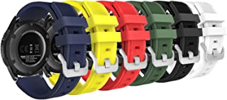 MoKo Band Compatible with Samsung Gear S3 Frontier/Classic/Galaxy Watch 46mm/Huawei Watch GT 46mm/Ticwatch pro/S2/E2, [6-Pack] Silicone Strap Fit 22mm Band, Multi Colors A