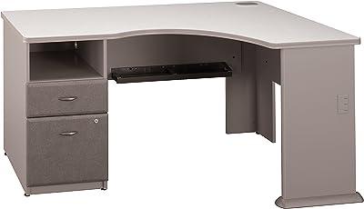 Bush Business Furniture Series A Single 2 Drawer Pedestal Corner Desk, Pewter
