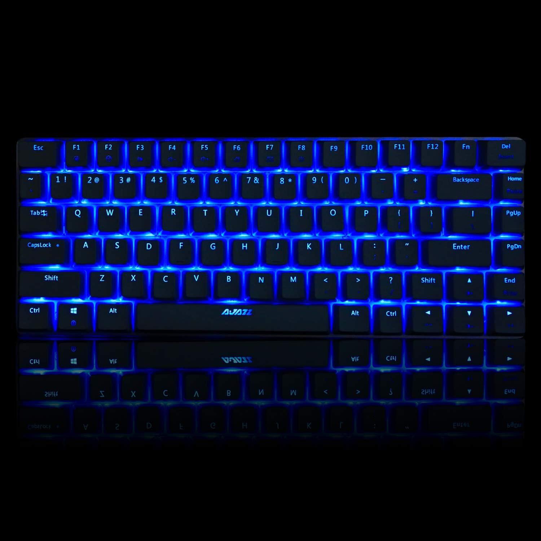 Gaming Mechanical Keyboard Wired USB Metal Mechanical Blue Switch Computer Gaming Keyboard with Blue LED Backlit for Computer Gamers (Blue Switch, White)