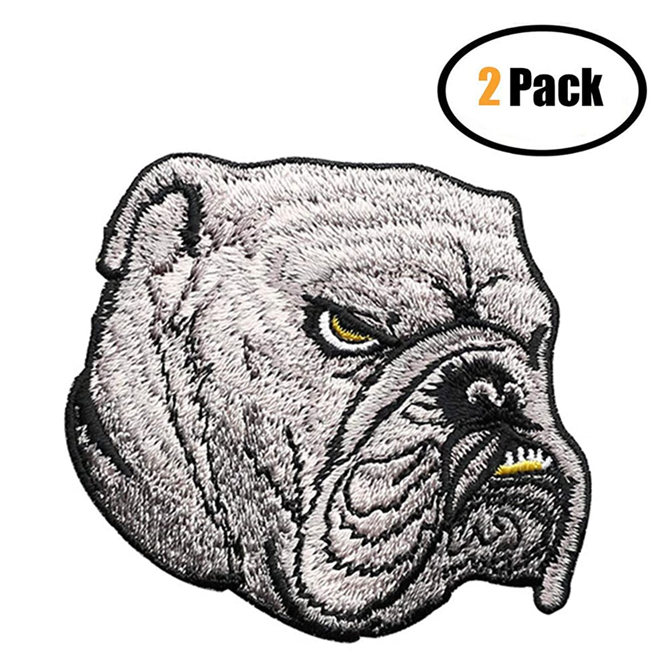 2 Pcs Embroidered Bulldog Patches,Iron On Patches, Sew On Applique Dog Patch,Embroidery Patches, Cool Patches for Men, Women, Boys, Girls, Kids