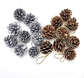 12 Pezzi, Marrone KNIKGLASS 12 Confezioni pigne in Vetro Decorazioni Natalizie-Vetro Dipinto Appeso Palline di Natale Ornamenti per Albero di Natale ciondoli Natalizi Decorazioni di Capodanno