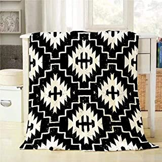 Mugod Aztec Throw Blanket Seamless Ethnic Pattern with American Indian Motifs in Black and White Colors Decorative Soft Warm Cozy Flannel Plush Throws Blankets for Bedding Sofa Couch 40 X 50 Inch