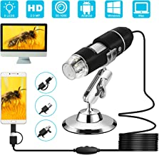 USB Digital Microscope, VSATEN 3 in 1 50 to 1000x Magnification Endoscope with 2.0MP Camera 8 LEDs Stand Holder for Android Phone Tablet, Windows & MacBook OS Computer (Black)