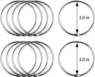 MROCO Loose Leaf Binder Rings 3 Inch 12 Pack, Paper Rings Book Rings for Office, Nickel Plated Metal Book Rings, Key Rings, Index Card Rings for Paper