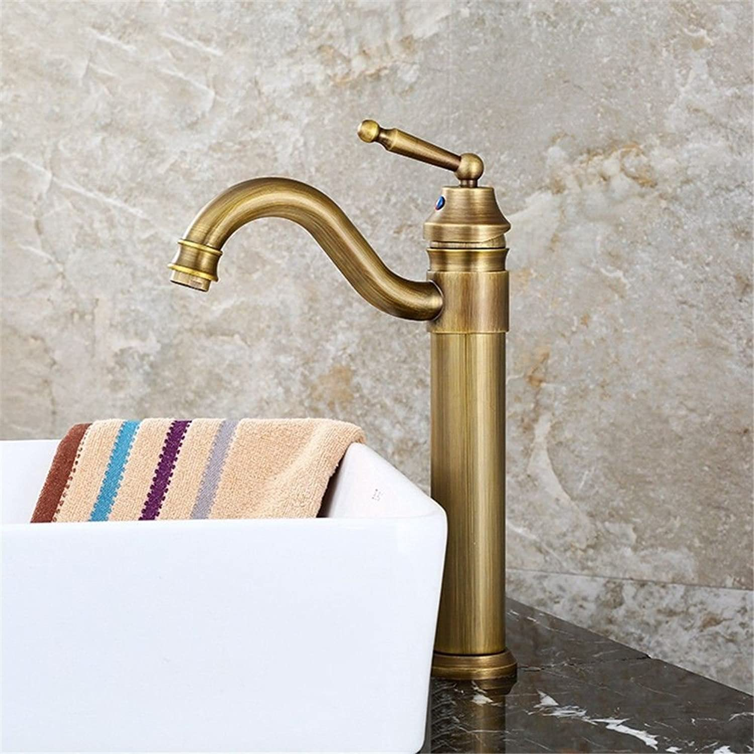 AQMMi Basin Taps Bathroom Sink Faucet Brass Antique Hot and Cold Water Single Lever redatable Bathroom Sink Faucet Basin Mixer Tap
