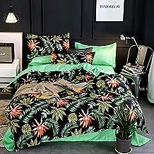 LAMEJOR Duvet Cover Sets Queen Size Tropical Jungle Palm Leaves Pattern Reversible Hotel Luxury Soft Bedding Set Comforter...