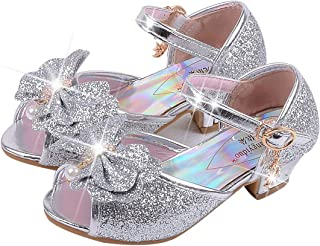 83d5ab2c4f6af anbiwangluo Filles Sequin Chaussures Princesse Chaussures à Talons Hauts Enfants  Party Pompes