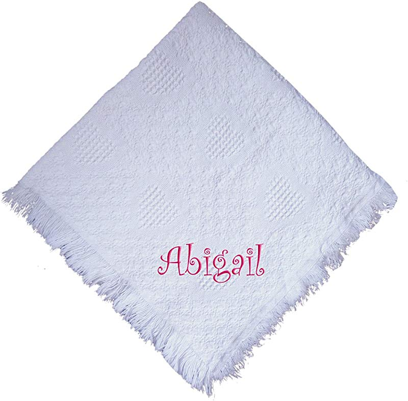 Fastasticdeal Abigail Girl Embroidered Embroidered Cotton Woven White Baby Blanket
