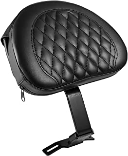 INNOGLOW Motorcycle Backrest Adjustable Plug-In Driver Rider Backrest Pad Black PU W/Pocket for Harley Fatboy Heritage Softail 2007-2017