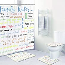 4 Pcs Family Rules Educational Shower Curtain Set with Non-Slip Rug, Toilet Lid Cover, Bath Mat and 12 Hooks, Motivational...