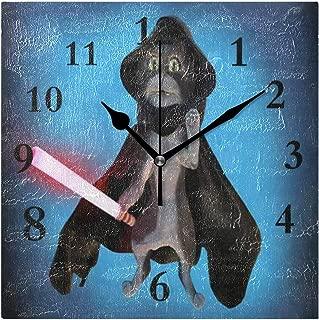 FunnyCustom Cartoon Cat Costume Hero Square Wall Clock 7.8 Inch Hanging Clock for Living Room/Kitchen/Bedroom
