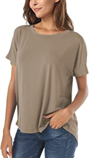 Summer Short Sleeve High Low Loose T Shirt Basic Tees Tops for Women