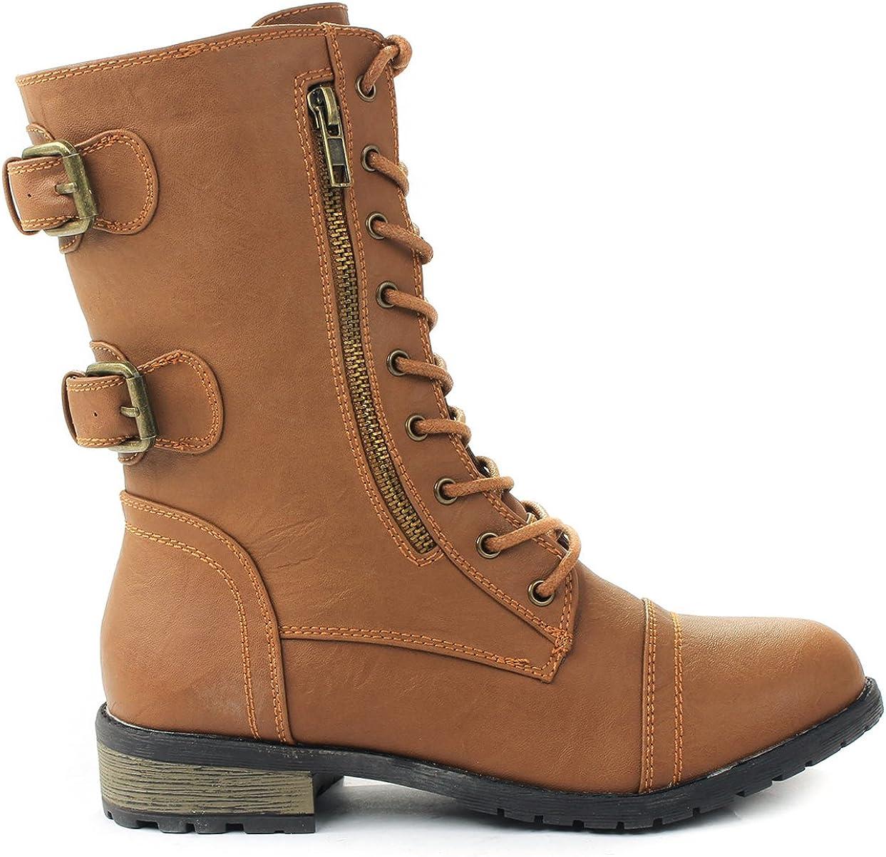 J.J.F Shoes Mango-61 Women Combat Lace Up Zip Grommet Buckle Mid Calf Motorcycle Boots
